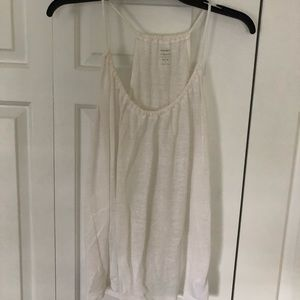 white relaxed adjustable neck line tank